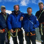 At the summit: Jeff Bechtel, Todd Skinner, Mike Lilygren, and Bobby Model